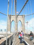Brooklyn bridge and view of Manhattan and the city of New York on a sunny day - 207747509