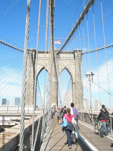 Aluminium Brooklyn Bridge Brooklyn bridge and view of Manhattan and the city of New York on a sunny day