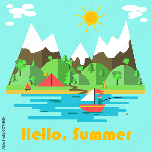 Aluminium Lichtblauw Summer nature poster with hello summer inscription on blue background with sea, boat, forest and tent. Vector illustration