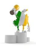 Ireland character on podium holding trophy