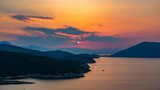 Panoramic view of sunset on small island Poros, Greece - Timelapse of summer sunset - 207751304