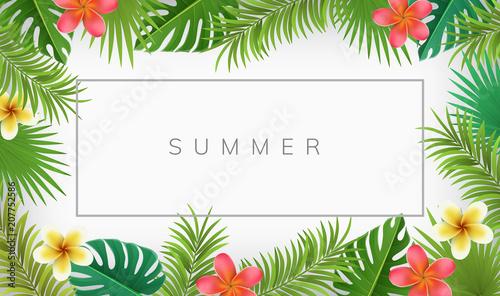 Letnia ramka z egzotycznych kwiatów i liści palmowych. Wektorowa ilustracja dla tropikalnych ram i tło