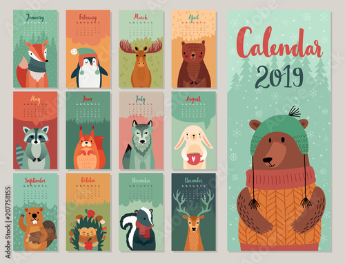 Calendar 2019. Cute monthly calendar with forest animals. Hand drawn style characters.
