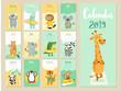 Calendar 2019. Cute monthly calendar with forest animals.