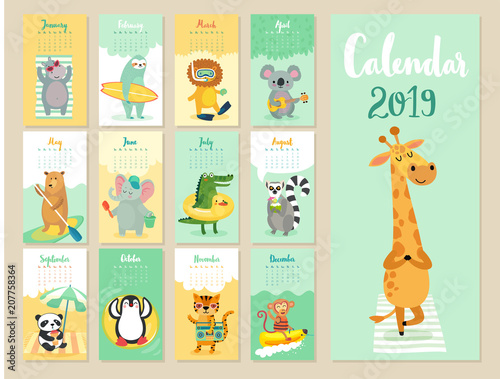 Sticker Calendar 2019. Cute monthly calendar with forest animals.
