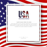 Patriotic American poster with text USA the background of the American flag pattern Poster for Independence Day President's Day Memorial Day Elections Patriotic concept on Independence Day Vector - 207758911