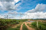 Wind turbine power generators on mountain