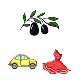 Country Italy cartoon icons in set collection for design. Italy and landmark vector symbol stock web illustration. - 207763952