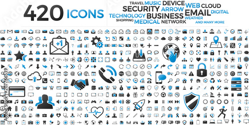 Black and blue web business technology icons set - 207766539
