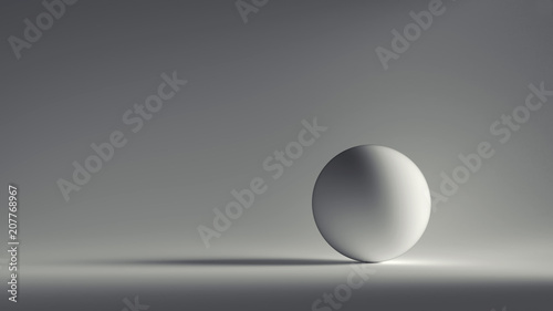 Leinwanddruck Bild 3d render white sphere with  grey background.