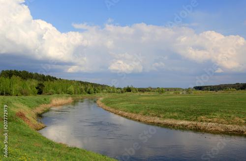 Fotobehang Lente river in steppe