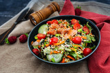 Salmon salad Gourmet cereals Cooked soy beans Cucumber Carrots - 207775193