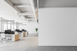 Leinwanddruck Bild - White open space office interior, mock up wall