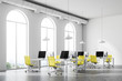 Leinwanddruck Bild - Minimalistic yellow chair office corner