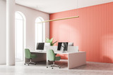 White and red open space office corner - 207775542