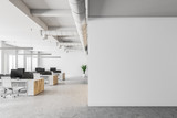White open space office interior, mock up wall - 207775546