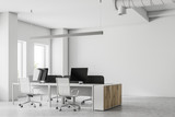 Corner of an open space office, mock up wall - 207775562