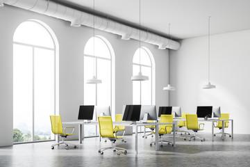 Minimalistic yellow chair office corner