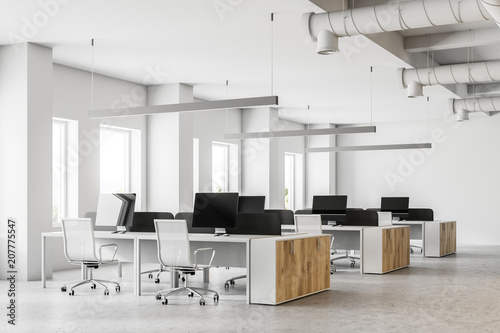 White open space office interior side view - 207775547