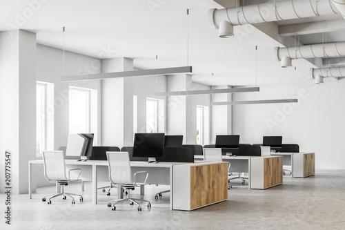Leinwanddruck Bild White open space office interior side view