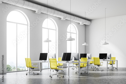 Leinwanddruck Bild Minimalistic yellow chair office corner