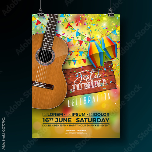 Festa Junina Party Flyer Illustration with Typography Design on Vintage Wood Board and Acoustic Guitar. Flags and Paper Lantern on Yellow Background. Vector Brazil June Festival Design for Invitation - 207777902