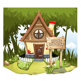 Cartoon Fairy House on the edge of forest, on a green hill with a signboard