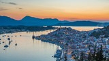 Panoramic aerial view of Poros, Greece - Timelapse of summer sunset - 207780789