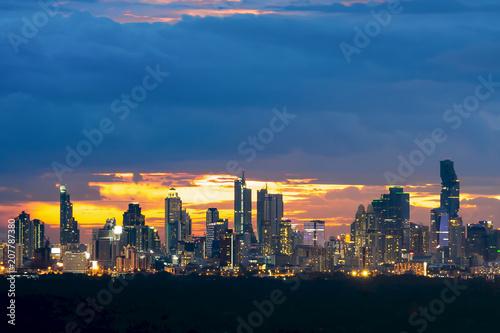 Aluminium Bangkok Bangkok cityscape. Bangkok night view in the business