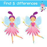 Find the differences educational game. Kids activity sheet with cartoon flying fairy