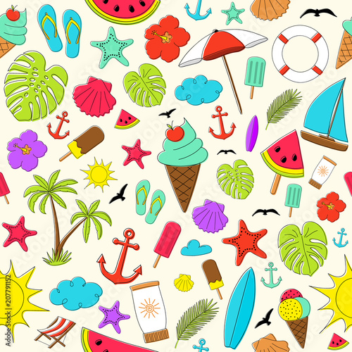 Summer - colourful pattern with cute hand drawn elements. Vector. - 207791152