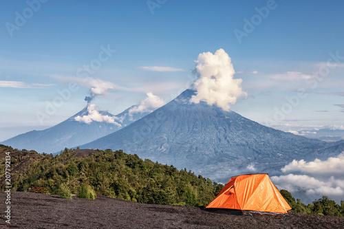 Volcanoes Fuego (active), Acatenango and Agua, View from Pacaya, Guatemala