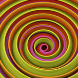 Yellow twisted spiral shape abstract 3D render - 207792902