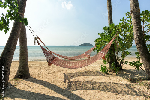 Hammock in the shadow of the palm on the tropical beach with sea and blue sky background.