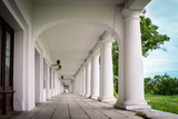 Long gallery corridor built in classical style, perspective in architecture. - 207793133
