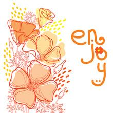 Corner Bouquet Of Outline Orange California Poppy Flower Or California Sunlight Or Eschscholzia Leaf And Bud    Ornate Contour Poppies For Enjoy Summer Design Sticker