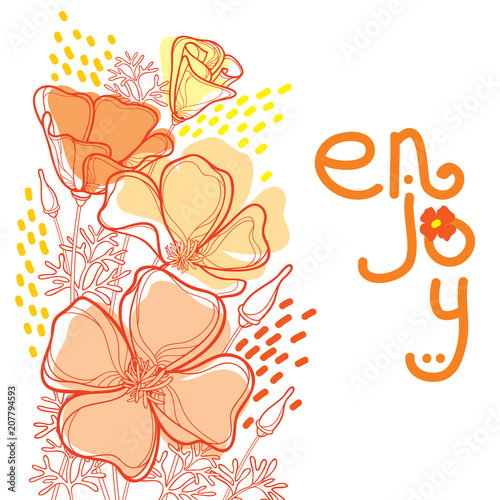 Vector corner bouquet of outline orange California poppy flower or California sunlight or Eschscholzia, leaf and bud isolated on white background. Ornate contour poppies for enjoy summer design.