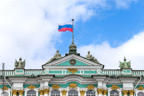 Foto Murales Flag of Russia on a building spire