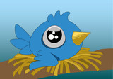 A little cartoon blue bird with big eyes in its nest. Vector illustration