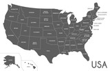 USA Map vector illustration isolated on white background with country names in spanish. Editable and clearly labeled layers.