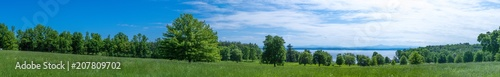 Panoramic view of a land near Lake Champlain NY in summer - 207809702