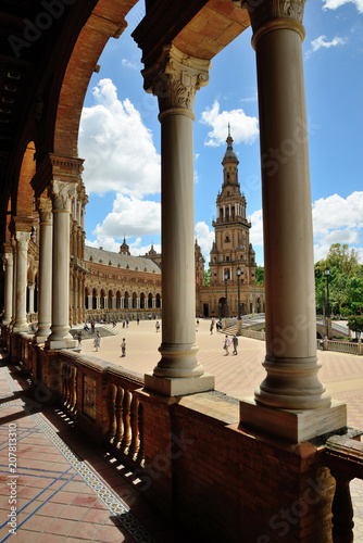 Seville, Spain - May 25, 2018: Plaza de España in Seville.