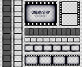 Creative vector illustration of old retro film strip frame set isolated on transparent background. Art design reel cinema filmstrip template. Abstract concept graphic element - 207818595