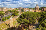 Aerial scenic view of Colosseum, Roman Forum and church of Santi Luca e Martinain in Rome, Italy. Rome architecture and landmark.rchitecture and landmark.