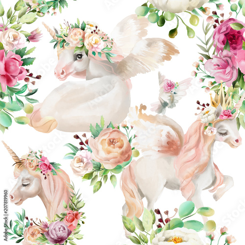 Beautiful, watercolor unicorns princess, pegasus in gold crown and floral, flowers peony and rose bouquets and pigeon on white background seamless pattern - 207819960