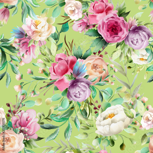 Beautiful, watercolor floral seamless pattern. Violet and cream peoinies, pink roses greenery branch and leaves on fresh green background - 207820375