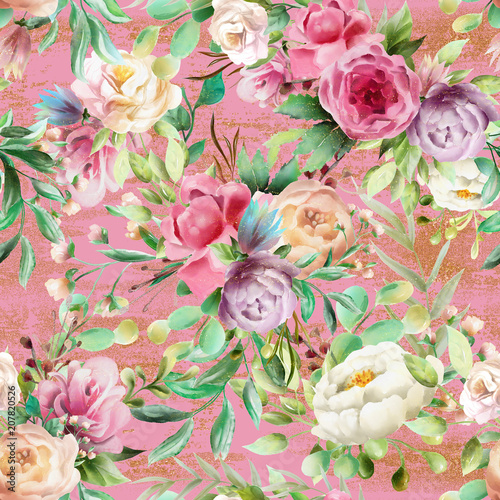 Beautiful, watercolor floral seamless pattern. Violet and cream peoinies, pink roses greenery branch and leaves on pink background with golden glitter - 207820526