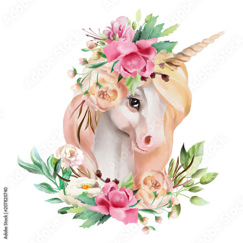 Beautiful, cute, watercolor unicorn head with flowers, floral crown, bouquet isolated on white - 207820740