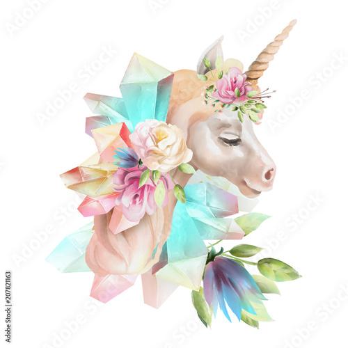 piekny-ladny-akwarela-jednorozca-glowy-z-kwiatow-kwiatowy-korony-bukiet-i-magiczne-krysztaly-na-bialym-tle