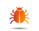Bug sign icon. Virus symbol. Software bug error. Disinfection. Blurred gradient design element. Vivid graphic flat icon. Vector